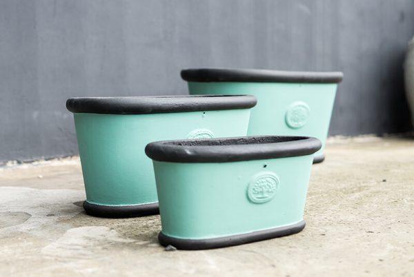 Black - Blue trough pot